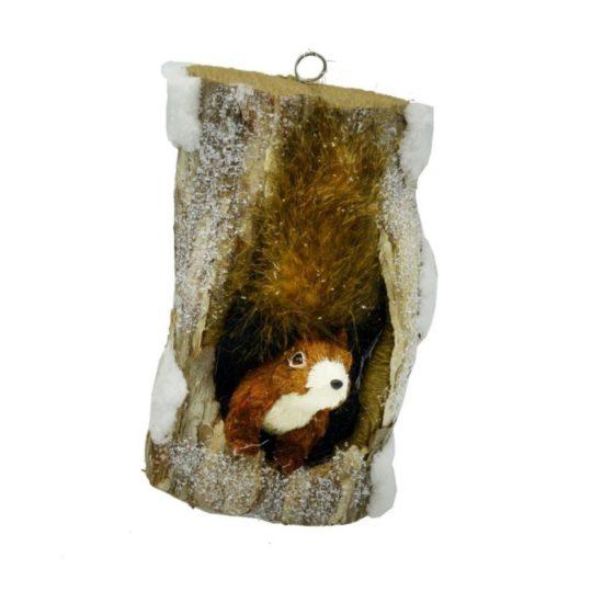 Decorazione Tronco con scoiattolo